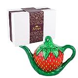 Artvigor, Porzellan Kaffeekanne 1000 ml, Handbemalt Teekanne, Erdbeere Design