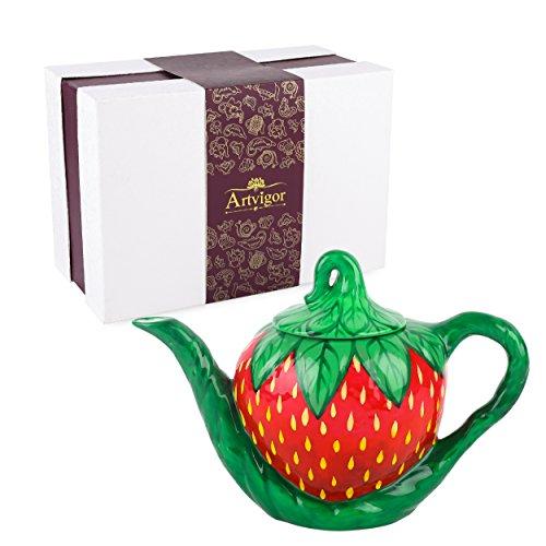 Artvigor, Porzellan Kaffeekanne 1000 ml, Handbemalt Teekanne, Erdbeere Design -