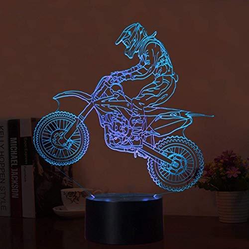 YKMY Neuheit 3D Illusion Lampen Motorrad LED Nachtlichter USB 7 Farben Sensor Schreibtischlampe für Outdoor Sports Liebhaber Sammlung
