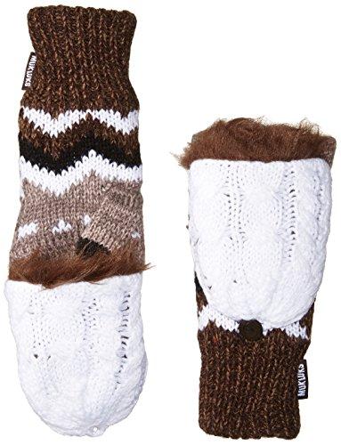 Muk Luks Women's Flip Mittens, brown, One Size