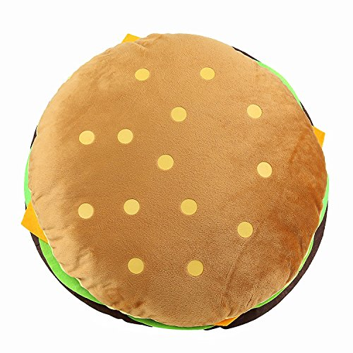 Tplay Cheeseburger Pillow Fluffy Stuffed Hamburger Pillow Soft Burger Food Plush Toy Gift For Kids Halloween Costume 16""