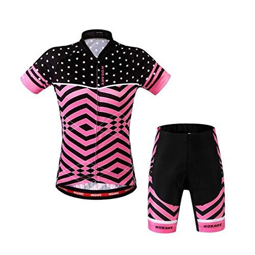 Fleece-trägerhose (AQWWHY Damen Radbekleidung Fahrradtrikot Set Sommer Top + Trägerhose gepolstert)