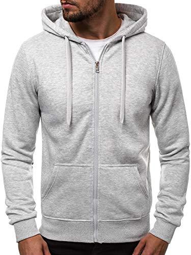 Zip Hoody Jacke (OZONEE Herren Zip Hoody Reißverschluss Fleece Sport Fitness Training Sweatshirt Hoodie Sweatjacke Kapuzenpullover J.Style 2008 GRAU M)