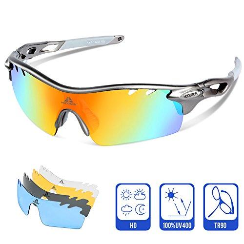HODGSON Polarisierter Sport Sonnenbrille für Herren und Damen Fahren Golf Laufen Radsport Superleichtes Rahmen (Grau/Grau)