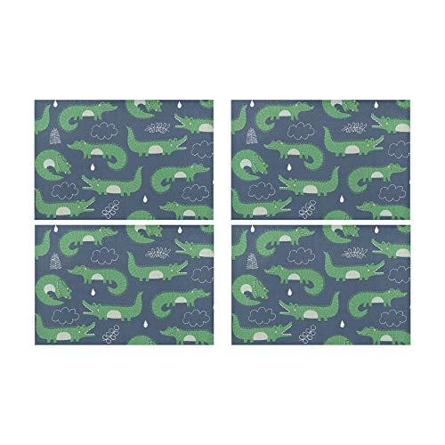 Plosds Krokodil heftig lustig kriechen Rutschfeste schmutzabweisend Wärmedämmung waschbar Platzdeckchen Tischset für Baby und Frauen Runde Esstisch Küchentisch 12