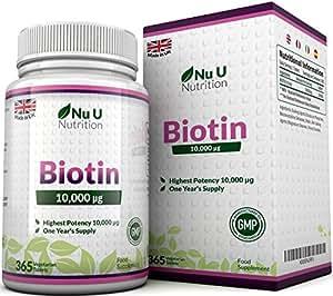 Biotin Hair Growth Supplement, 365 Tablets (Full Year Supply) Biotin 10,000MCG by Nu U Nutrition