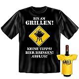 Griller Set T-Shirt + Mini für die Flasche <-> Bin am Grillen <-> ein kleines lustiges Geschenk zur Grillparty Goodman Design®Schwarz