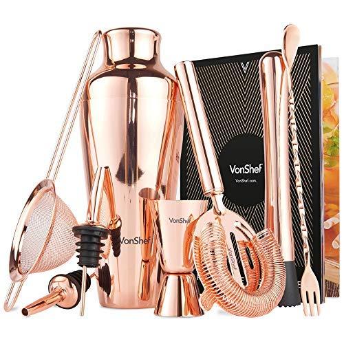VonShef Cocktailshaker Premium Kupfer Pariser Set in Geschenkbox mit Rezepten & Zubehör