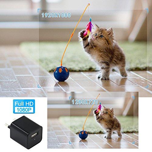 Telecamera Nascosta, UYIKOO 1080P Mini Telecamera Spia USB Caricatore da Parete Adattatore per Videocamera Fotocamera portatile con Rilevazione di Movimento, Fotocamera da 32 GB di Memoria Incorporata - 4