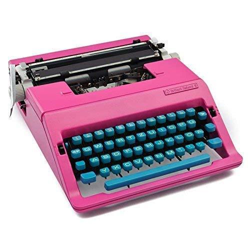 Schreibmaschine pink mit Tastatur in Türkis | mechanische Schreibmaschine | retro 70er Jahre Dekoration | Seventies Design