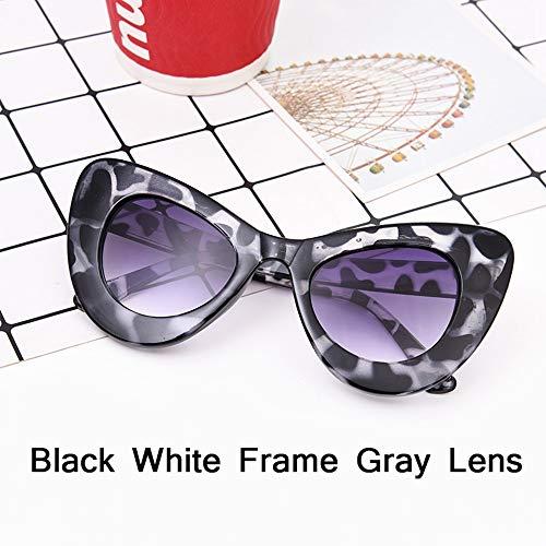 HUWAIYUNDONG Sonnenbrillen,Fashion Big Frame Sunglasses Women Classic Leopard Patter Cat Eye Glasses Femle Travel Gray Bean
