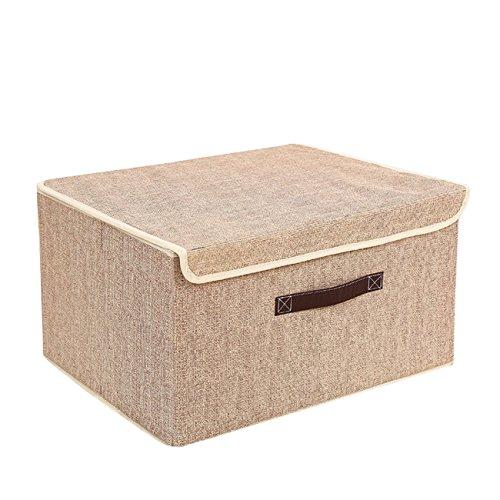THEE Aufbewahrungsbox Stoffkiste Ablagebox Schlafzimmer Accessoire-Organizer Aufbewahrungskasten mit deckel Beige