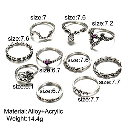 Bohemian 10 PC Pack Vintage Purple Crystal Rings