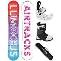 AIRTRACKS Snowboard Set - Tabla Luminous Mujer 150 - Fijaciones Master W - Botas Star Black 38 - SB Bolsa