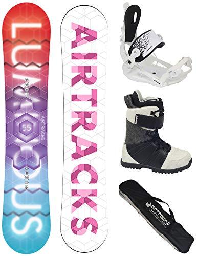 AIRTRACKS SNOWBOARD SET/PACK/ PLANCHE LUMINOUS FEMME + FIXATIONS MASTER W FASTEC + CHAUSSURES DE SNOWBOARD + SB SAC/NEUF