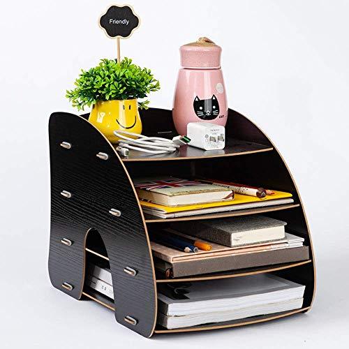 Organizer da scrivania in legno, organizer da ufficio, 4 scomparti, porta documenti, riviste, libri, multifunzione, scaffale di archiviazione robusto, forniture per ufficio, casa, biblioteca Nero