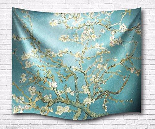 A.Monamour Hellblau Bild Hintergründe Vintage Blumendruck Wand Hängende Tapisserie Vorhänge Bettdecke Für Schlafzimmer Wanddekor Wohnaccessoires Deko Wandteppiche