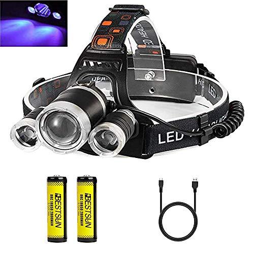 Linterna frontal UV, Lámpara de cabeza Luz ultravioleta 395-400nm Recargable para arte, pesca nocturna...