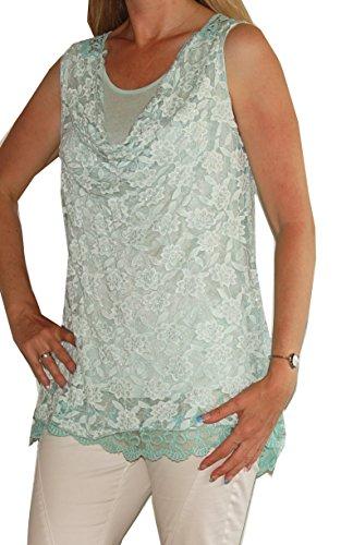 Vintage - Top mit Glitzer-Blütenmuster, Wasserfall-Rundhals-Ausschnitt, weich unterfüttert, Uni-Größe - 36 bis 42, super Schnitt Mint