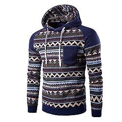 Sweater Longra® Men Retro Unique Pattern Splice Sweatshirt Jacket Coat ! Long Sleeve Hooded ! (M-2XL) from Longra®