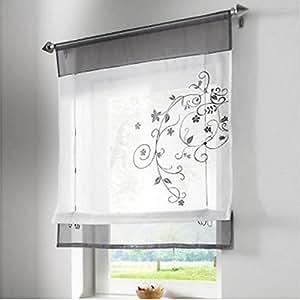 Simpvale tenda di finestra ricamo floreale store romano - Tenda finestra bagno ...