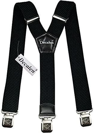 Mens braces black wide adjustable and elastic suspenders Y shape with a very strong clips - Heavy duty Black
