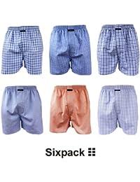 6 CityLife Boxershorts Webboxer Boxer S M L XL XXL Spar Woven Boxer american Style blau weiß
