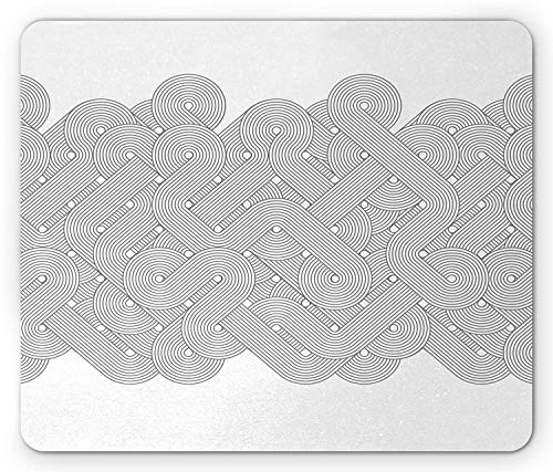 Grey Mouse Pad, Abstract Twist Spiral Line Tangled Maze Labyrinth Inner Intricacy Circle Retro Artwork, Standard Size Rectangle Non-Slip Rubber Mousepad, Grey White (Artworks Tangled)