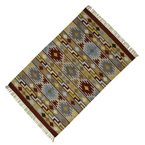 Multicolour Jute Baumwolle Streifen-Muster Indian Rug Fussboden Runner Werfen 58 Dari X 27 Zoll - Baumwolle Indian Werfen
