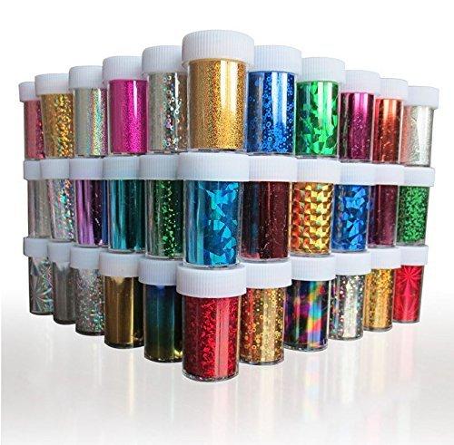 Xichen Lot de 24 stickers pour nail art Feuilles de wraps pour ongles, brillants adhésifs, décorations pour ongles en acrylique 24 couleurs 4 x 100 cm