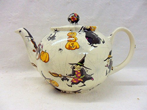 Hubble Bubble 2 Cup Teapot In Witches Design By Heron Cross Pottery.