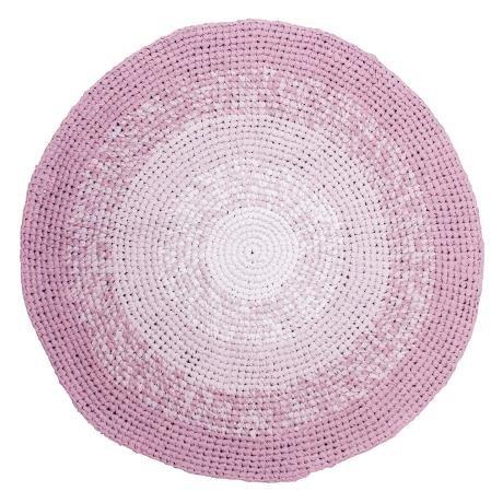 Sebra Kinderzimmer Teppich Häkelteppich Kinderteppich 120cm gradient rosa Farbverlauf Mädchen...