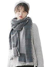 Smnyi Versión coreana Moderna Bufanda Larga Woman Pata de gallo Bufanda De La SeñOra Cálida Estola