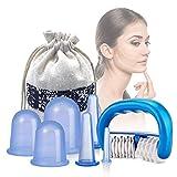 Silikon Schröpfen, Yiomxhi Silikon Cupping Set mit 6 Vacuum Massage Cups und 1 Massage-Rolle, Silikon Schröpfgläser für Anti Cellulite und Schönheitstherapie-Massage