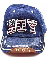 Charmante Casquette de Baseball Chapeau Solaire Fille Garçon de Style Cowboy Décor de Letter BOY(Bleu Profond)