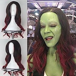 Blue Bird Guardians of the Galaxy Gamora Cosplay Perruque femme long ondulés racines foncées ombré Vin Rouge Perruques Costume d'Halloween Perruque Anime Cosplay Cheveux