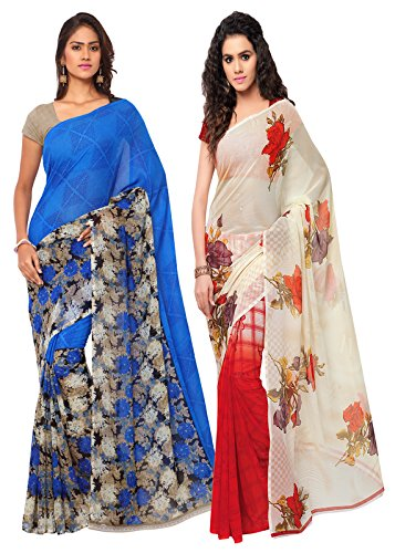 ANAND SAREES MULTI COLORED GEORGETTE PRINTED SAREES (COMBO PACK)  available at amazon for Rs.525