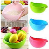 Combo Of 3 Rinse Bowl For Rice, Pulses, Fruits, Vegetables, Noodles, Pasta Kitchen Washing Bowl/Washing Drain Basket/Storage Basket Or Strainer For Storing And Straining, Green Blue Pink By NEXT ON
