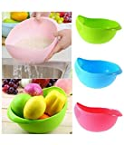 #7: Combo Of 3 Rinse Bowl For Rice, Pulses, Fruits, Vegetables, Noodles, Pasta Kitchen Washing Bowl/ Washing Drain Basket / Storage Basket or Strainer for Storing and Straining, Green Blue Pink By NEXT ON