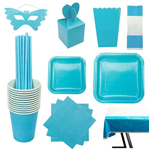 cotigo Set de Vajilla Desechables para Fiesta de Cumpleaños,para 16 Personas,Diseño Liso,Color Azul
