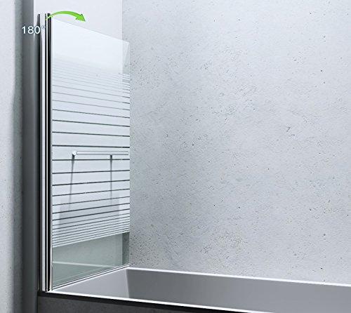 BxH: 94×143 cm Design Duschabtrennung Cortona1122, 6mm ESG-Sicherheitsglas teilsatiniert, inkl. Nanobeschichtung, Badewannenfaltwand, - 2