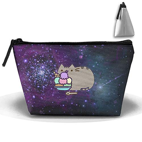 Space Food Cat Personality Portable Women Trapezoid Travel Bag Cosmetic Bag Receive Bag