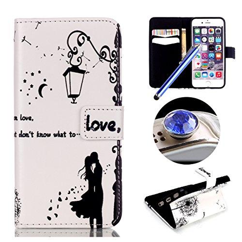 Etche iPhone 5 Wallet Case, étui en cuir pour iPhone 5 5s ,coloré flip imprimé portant couvrir avec Stand pour iPhone 5,Book Style Credit Card Slots coque pour iPhone 5 5s - pissenlit noir baisers amoureux
