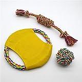 Juguete del animal doméstico del juguete del perro, disco volador de la bola del nudo a prueba de mordiscos, varilla del perro Molar, tres piezas