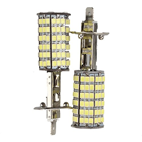 SODIAL(R) 2 x H1 Auto-Weiss-120 LED 3528 SMD-Mitnehmer-Kopf-Gluehlampe-Lampe Nebel-Lichtstrahl