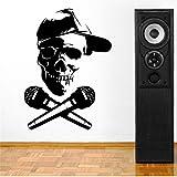 Mhdxmp Abnehmbarer Schädelkopf Mit Mikrofon Dj Vinyl Wall Paper Art Cut Vinyl Wandaufkleber Aufkleber Home Raumdekoration Wandbild42 * 57 Cm