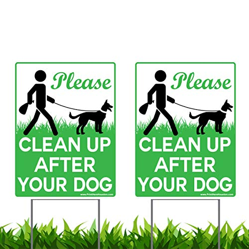 Vibe Tinte, 2 Stück à 22,9 x 30,5 cm, Nicht zum Reinigen nach Ihrem Hund - kein Pooping Hund Signes Gazon mit 2 H-Stakes Draht inklusive Halterungen -
