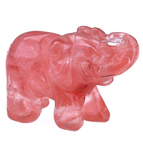QGEM Dekoration Healing geschnitzte Elefanten Tier Figur Statue Ornament Edelstein Kristall Reiki Energietherapie yoga mit Geschenk-Box 38mm/Wassermelone Kristall (Mondstein-statue)