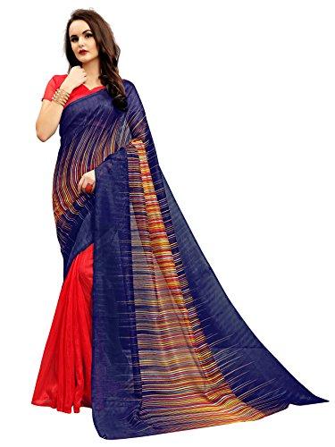 Glory Sarees Women\'s Bhagalpuri Art Silk Saree(vnart-33_red_blue)