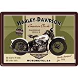 "Nostalgic Art - Cartel de chapa de tarjeta postal con texto ""Harley Davidson Motorcycles"", diseño de Knucklehead 1936 61 E"